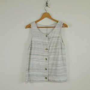 Lucky Brand Micro Stripes Button Front Tank Top